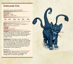 Displacer Beast cub = Chaotic Adorable, by Dissonant Whispers – DnD 5e Homebrew