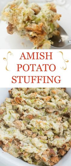 A delicious potato stuffing recipe, just like the Amish make it in Pennsylvania Dutch country. A delicious potato stuffing recipe, just like the Amish make it in Pennsylvania Dutch country. You'll love this easy, authentic Amish Potato Stuffing. Potato Dishes, Potato Recipes, Food Dishes, Potato Stuffing Recipes, Meatloaf Recipes, Celery Recipes, Dinner Dishes, Rice Dishes, Main Dishes