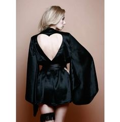 Sophia Black Silk Kimono Robe Pure Heart Cut