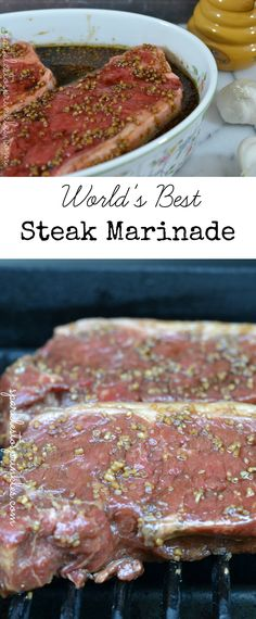 This truly is the Worlds Best Steak Marinade! Try it once and it will become a recipe you use over and over for years. Pin for Later! The most delicious steak marinade that can be used on any red meat/ Steak Marinade Recipes, Meat Marinade, Grilling Recipes, Beef Recipes, Best Marinade For Steak, Steak Marinade Balsamic, Recipies, Balsamic Onions, Best Steak For Grilling