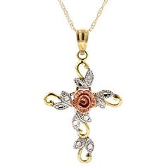 Yellow, White and Rose Gold Cross Necklace: something about this cross is very attractive. ..