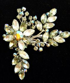 Huge Clear Rhinestone Brooch Vintage ABs Green by RenaissanceFair, $33.50