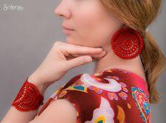 Bracelets,  Woven & Braided Bracelets,  boho chic bracelet,  Large lace bracelet,  red Jewelry set  textile cuff, graduation jewellery,  frivolite wristband,  elegant boho style,  fabric crochet,  Red boho bracelet,  beautiful, Carousel, openwork, pattern,  textile bracelet,  summer fashion, #Solena