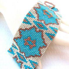 Cactus Blossom Peyote Cuff Bracelet 2291 by SandFibers on Etsy