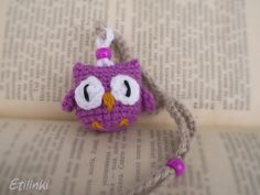 Purple Crochet Owl Necklace & Owl Bookmark in one piece - 2in1 – Adjustable,Cool gift for kids,Hanging Owl,Owl pendant,Crochet jewelry