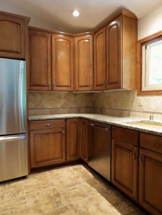 Corner cabinets in the remodeled kitchen