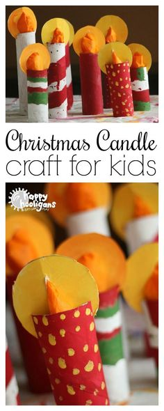 Kids can make this easy Christmas candle craft with a few paper towel rolls and some tissue paper. They'll look gorgeous on a mantel or holiday table - Happy Hooligans #Christmas #Crafts #Kids #Preschoolers #ToiletRolls #CardboardRolls #CardboardTubes