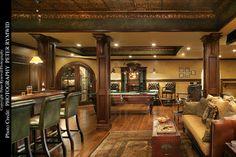 Pub Bar, Seating, and Pool Table - - basement - new york - by Carisa Mahnken Design Guild