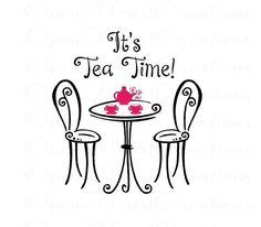 Its Tea Time Wall Decal - Girls Playroom Wall Saying with Table Chairs and Tea Cups 24h X 22 BA0359 on Etsy, $39.00