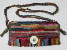 Western Design Rug Hooked Purse with Bone Button by anancyoriginal, $45.00