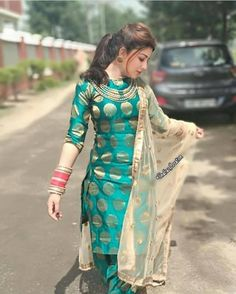 Cute Aditi in Punjabi Dress Salwar Designs, Patiala Suit Designs, Kurti Designs Party Wear, Blouse Designs, Punjabi Fashion, Indian Fashion, Indian Attire, Indian Wear, Salwar Kameez