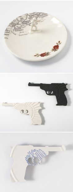 Floral forks, pigeons, and  a bunch of weapons. Yep, I absolutely love the delicate/unconventional work of Australian ceramics artist Mel Robson. I want to use that gorgeous, flowery cutlery to eat my dinner, while I dine with that little army man – but no guns at the table please… or pigeons.