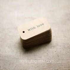 With Love Rustic Wedding Favor Tags - Kraft Gift Tags - Thank you tags - Hang tags - Gift Tags - Swing Tags - Set of 40 (Item code: Custom Wedding Favours, Wedding Gift Tags, Diy Wedding, Wedding Reception, Wedding Ideas, Personalized Gift Tags, Personalized Wedding, February Wedding, Wine Tags