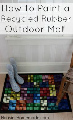Cheerful for winter! How to Paint a Recycled Rubber Outdoor Mat :: Instructions on HoosierHomemade.com #outdoormat #diyporch