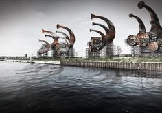 horn structures produce wind-generated sounds in denmark for LAGI 2014