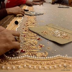 Artisans at work ! Zardosi Embroidery, Tambour Embroidery, Hand Work Embroidery, Couture Embroidery, Gold Embroidery, Embroidery Fashion, Embroidery Dress, Embroidery Suits Design, Bead Embroidery Patterns