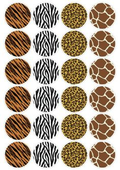 "Animal Print DIY 2.5""dia Safari Theme Birthday, Jungle Theme Parties, Jungle Party, Safari Party, Giraffe Cookies, Jungle Crafts, Animal Print Party, Deco Jungle, Baby Prints"