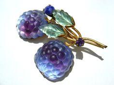 Austrian Crystal Purple Double Raseberry Fruit Brooch