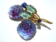 Austrian Crystal Purple Double Raseberry Fruit Brooch