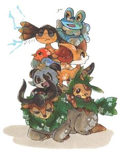 Froakie, Helioptile, Fletchling, Fennekin, Pancham, Chespin, and Gogoat by しゅらぎ@ついった on pixiv