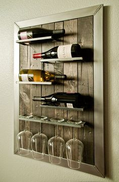 Wall Mounted Wine Rack and Glass Holder
