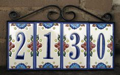 How to make house address number tiles for your home, condo . Tile House Numbers, Ceramic House Numbers, House Tiles, House Address Numbers, Address Plaque, Craftsman Porch, Talavera Pottery, Paint Your Own Pottery, Ceramic Houses