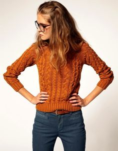 Perfect sweater color for fall. Would go well with my red/orange skinnies