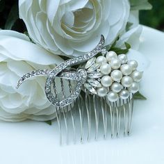 Original Vintage Rhinestone and Pearl Bridal Hair Comb by belcanto