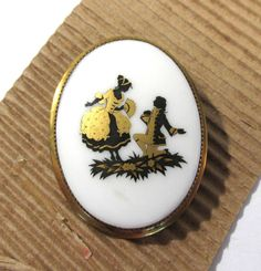 Victorian Porcelain Pin Courting Couple ANTIQUE Victorian Porcelain Pin Brooch Victorian Edwardian Antique Jewelry Ready to Wear (J220) by punksrus on Etsy