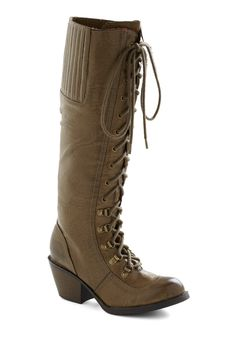 Rock Me To the Office Boot in Stone - Tan, Solid, Military, Lace Up, Mid, Fall, Faux Leather, Steampunk
