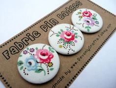 Fabric Badges with Cath Kidston Fabric (pack of 3)