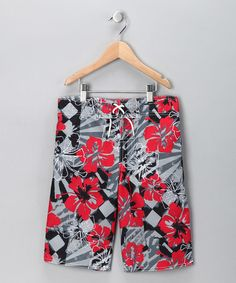 Take a look at this Gray & Red Hawaiian Swim Trunks - Boys by Baby Buns on #zulily today!