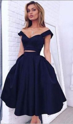 Vintage style two piece homecoming dress,a line navy