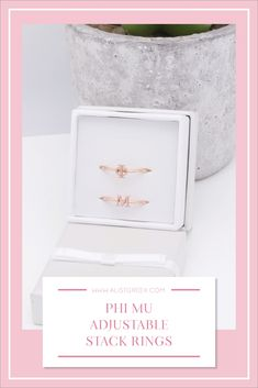 Sorority stack rings are the easiest gift for any celebration: Recruitment, Bid Day, Back to School & Big/Little. Spoil your new sorority girl with adjustable Greek letter stack rings! Phi Mu Gifts   Phi Mu Bid Day   Phi Mu Rings   Phi Mu Jewelry   Sorority Bid Day   Sorority Recruitment   Sorority Jewelry Gifts   Sorority College Gift   Sorority New Member Gift Ideas #SororityGifts #SororityJewelry Delta Phi Epsilon, Kappa Alpha Theta, Alpha Chi Omega, Alpha Delta, Delta Gamma, Phi Mu, Sorority Bid Day, College Sorority, Sorority Recruitment