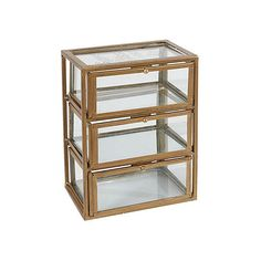 "10"" Three-Level Glass Box Gold Boxes featuring polyvore, home, home decor, small item storage, decor, decorative accessories, three-shelves, gold home decor, glass bowl, ribbon box and gold home accessories"