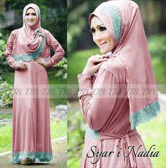 Model baju muslim syar'i modern nadia pink