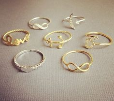 gold infinity ring. gold anchor ring.
