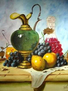 Fruit Painting, Fabric Painting, Cony Rico Pintura, Foto Transfer, Art Through The Ages, Still Life Fruit, Still Life Drawing, Wine Art, Fruit Art