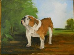 Original dog painting of a Bulldog with landscape by BushmanStudio, $75.00 by Joseph Bushman
