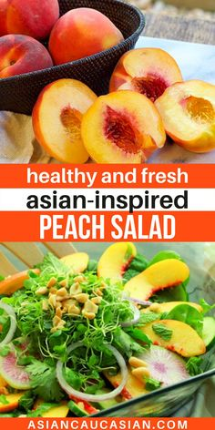 A simple Asian salad with bold flavors featuring ripe, juicy peaches are tossed in a sweet and spicy dressing. This Summer Peach Salad is so healthy and fresh! Beautiful, vibrant vegetables and bunches of fresh herbs are tossed together with juicy, ripe peach slices over a bed of baby spinach in this easy summer salad! Perfect healthy lunch or dinner. Top with protein of choice. Healthy Asian Recipes, Easy Summer Salads, Watermelon Radish, Ripe Peach, Peach Slices, Baby Spinach, Sweet And Spicy, Tossed, Fresh Herbs