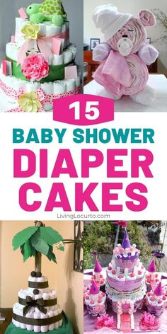 DIY Party Ideas and how to make a diaper cake for a baby boy, baby girl or neutral shower. Homemade gifts and crafts. Baby Shower Gift Basket, Baby Shower Gifts For Boys, Baby Shower Diapers, Baby Shower Fun, Baby Shower Diaper Cakes, Shower Party, Boy Shower, Unique Diaper Cakes, Diy Diaper Cake