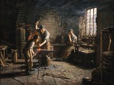 The Blacksmith's Shop (William Stewart MacGeorge - ) William Stewart, Blacksmith Forge, Art Uk, Your Paintings, Old Pictures, Blacksmithing, 18th Century, Metal Working, The Past