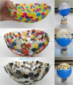 DIY Button Bowl. Glue buttons around a balloon. When they dry pop the balloon and you'll have a button bowl. A creative idea to use it to hold some light objects such as candies, chocolates, accessories, tissues and so on.
