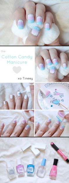Nail Art Designs for Teens - Coton Candy Nails - Awesome DIY Summer Summer Nailart Designs - Easy and Cute Styles with Glitter and Gel - Works Great For Spring and Summer as well as Fall - Step By Step Tutorials with Crazy Designs With Rhinestones - Great Styles For Teens and For Kids - https://thegoddess.com/nail-art-designs-for-teens