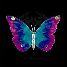 Au Bout Des Reves Large Turquoise Pink & Purple Enamel Butterfly Brooc | Alexandra May Jewellery