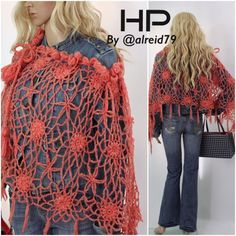 HANDMADE CROCHET LACE SHAWL Handmade coral poncho. Crochet lace technique. All done with lots of Love❤️. High quality mohair yarn. Multi way of wearing thanks to triangular shape and adjustable width of neckline. Can definitely brighten upcoming cold seasons. Please respect my price. It takes time to make it. Happy Poshing. Handmade by @runwayposh Accessories Scarves & Wraps