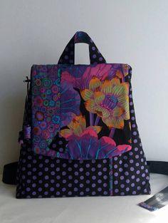 Backpack Colors of juzz - Black, Backpack Kaffe Fassett, Woman's backpack, Modern backpack by MagicThreadByNatalia on Etsy