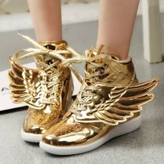 2015 new angel wings golden shoes, fashionable beautiful women  hip-hop shoes, High quality casual shoes