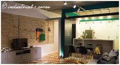 Apê industrial com toques de cores   Tijolinho, cimento queimado, tubulação aparente, piso antigo reformado e muita personalidade em um apê de 80m²