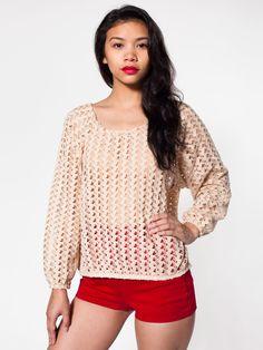 Crochet Lace Jumper   Pullovers   Women's Sweaters   American Apparel